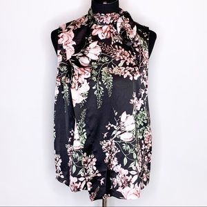 Love Rachel Rachel Roy black pink floral tie neck sleeveless top M